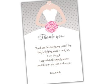 Thank You Notes For Bridal Shower Gifts Wording : Bridal Shower Thank You Quotes. QuotesGram